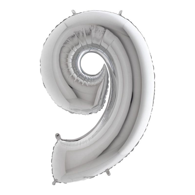 Grabo Balloons Balon cyfra 9 srebrny - 101 cm - Pan Talerzyk