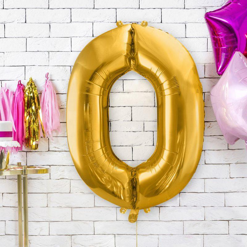 PartyDeco Balon foliowy 86 cm - złota cyfra 0 - Pan Talerzyk