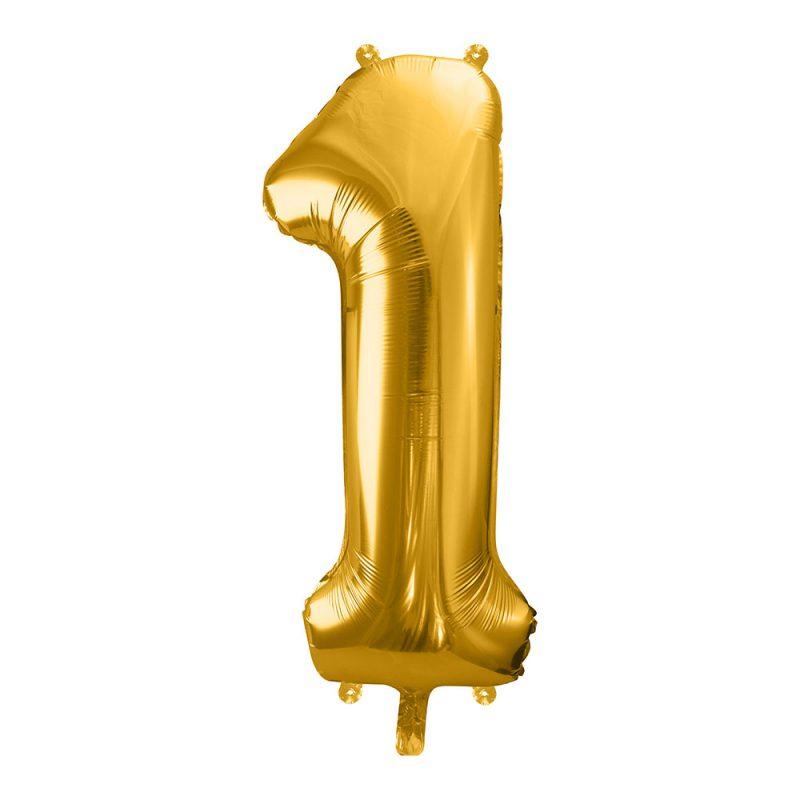 PartyDeco Balon foliowy 86 cm - złota cyfra 1 - Pan Talerzyk