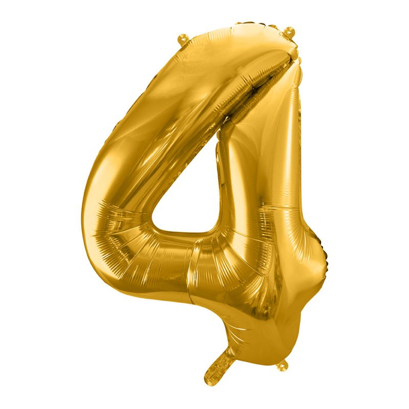 PartyDeco Balon foliowy 86 cm - złota cyfra 4 - Pan Talerzyk