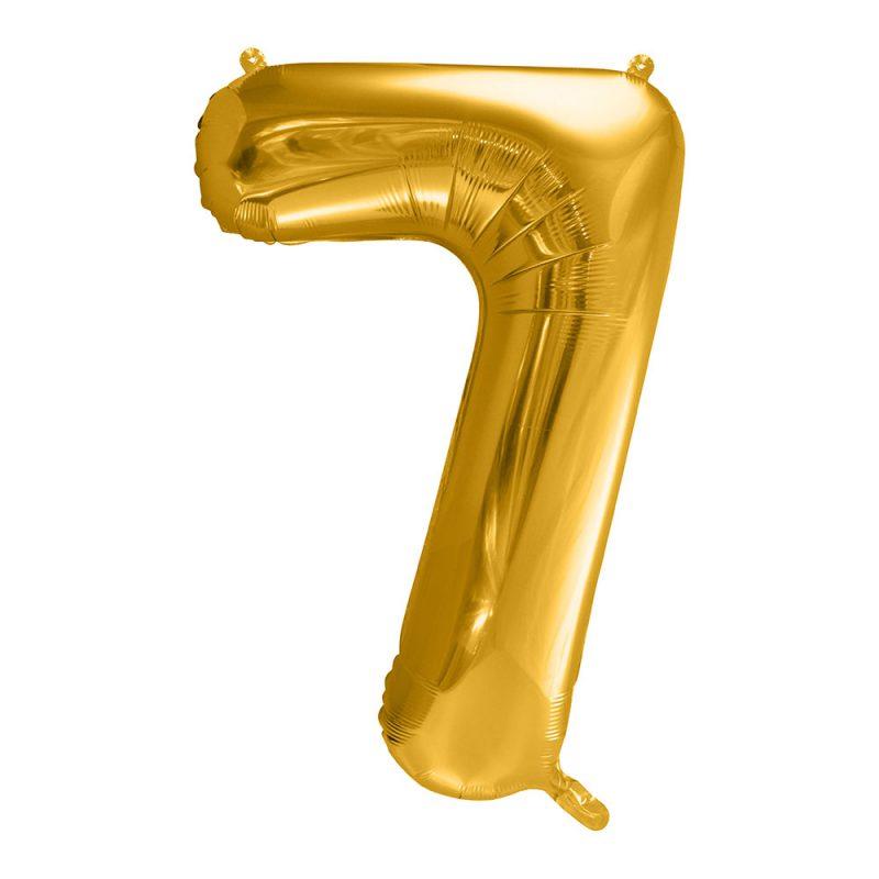 PartyDeco Balon foliowy 86 cm - złota cyfra 7 - Pan Talerzyk