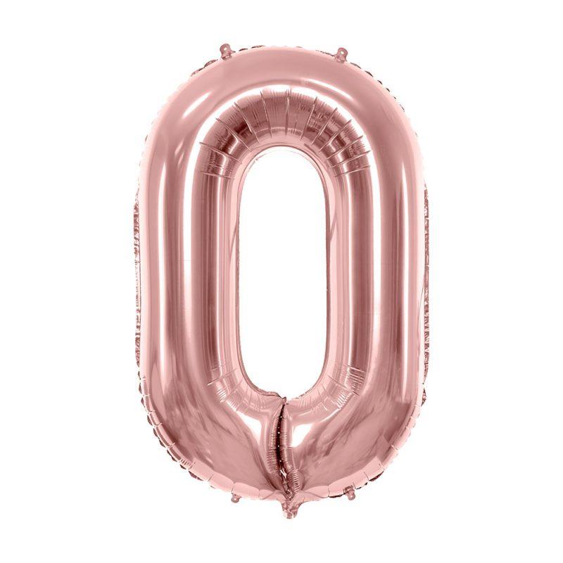 PartyDeco Balon foliowy cyfra 0 rose gold - 86 cm - Pan Talerzyk