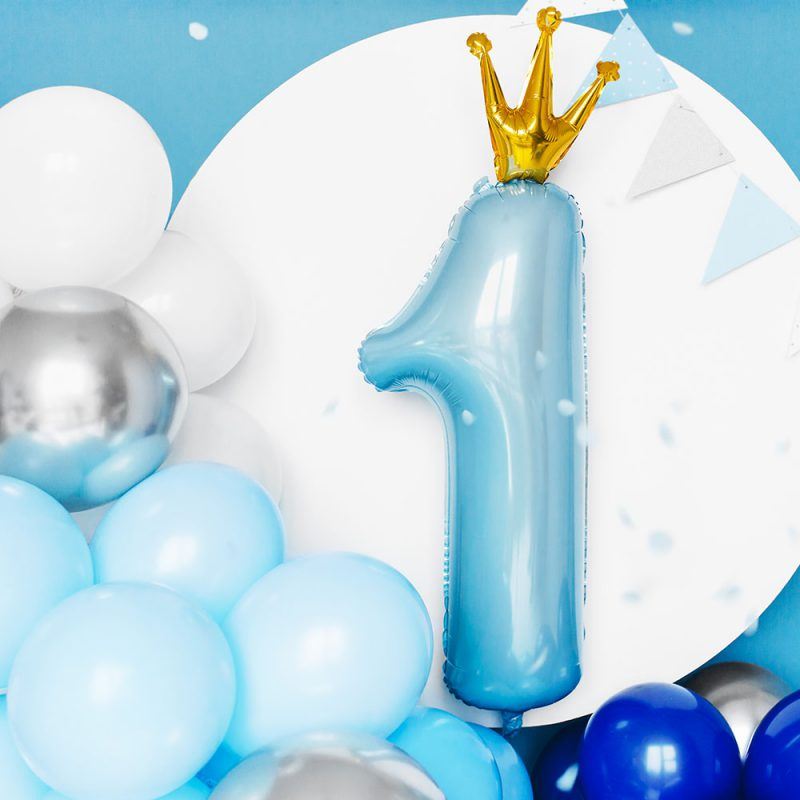 PartyDeco Balon foliowy cyfra 1 z koroną jasnoniebieski 90 cm - Pan Talerzyk