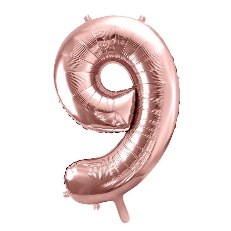 PartyDeco Balon foliowy cyfra 9 rose gold - 86 cm - Pan Talerzyk