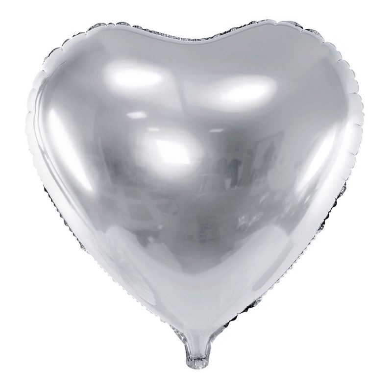 PartyDeco Balon foliowy serce srebrny 45 cm - Pan Talerzyk