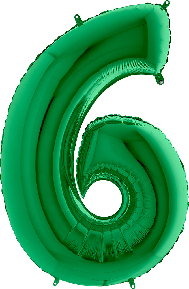 Grabo Balloons Balon cyfra 6 zielony - 101 cm - Pan Talerzyk