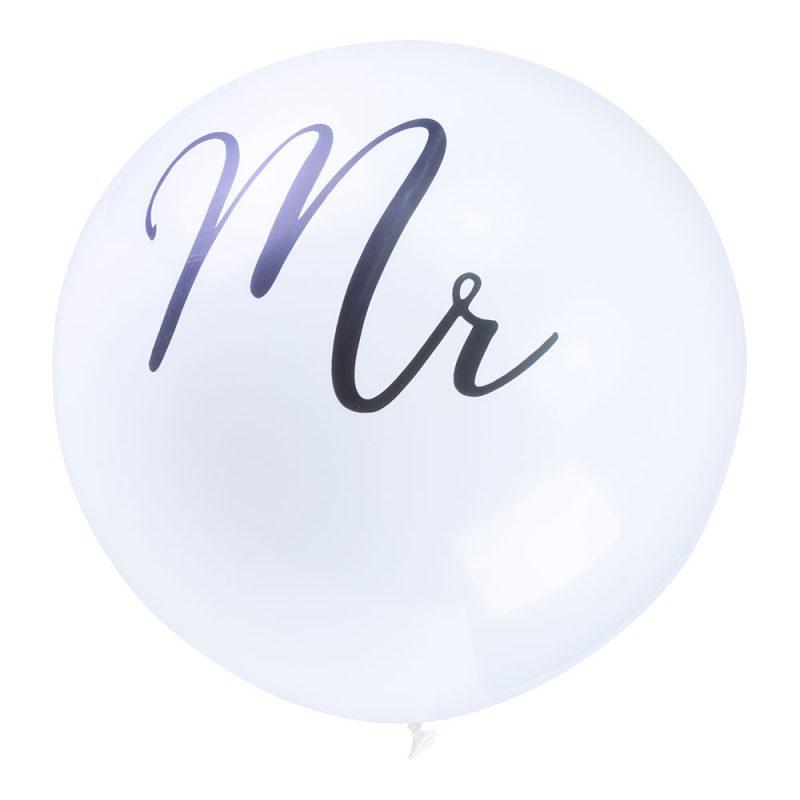 PartyDeco Balon gigant 1 m - czarny napis Mr - Pan Talerzyk