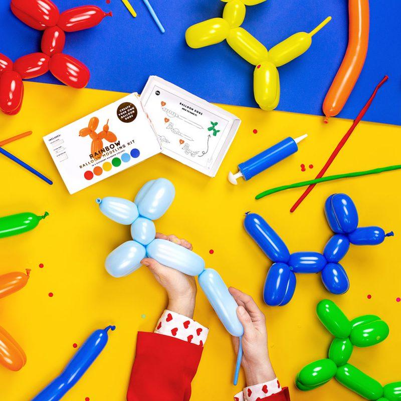 PartyDeco Balony do modelowania pastelowe z pompką - Pan Talerzyk