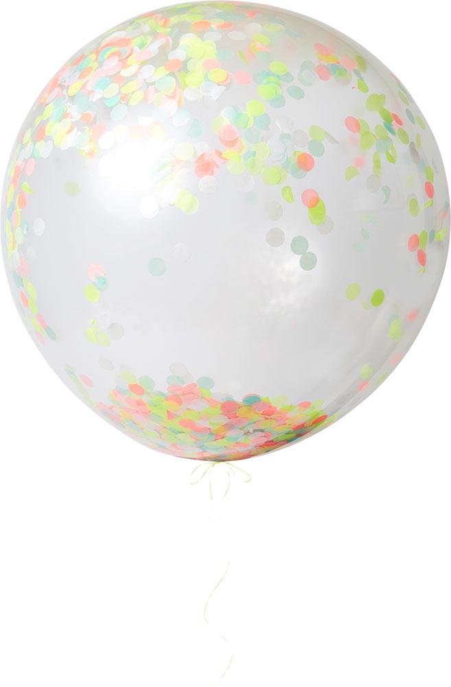 Meri Meri Balony giganty z neonowym konfetti - 3 sztuki - Pan Talerzyk