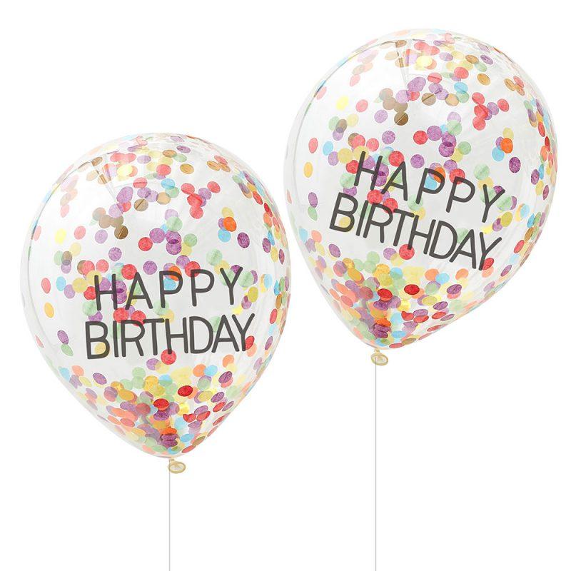 Ginger Ray Balony konfetti Happy Birthday - 5 sztuk - Pan Talerzyk