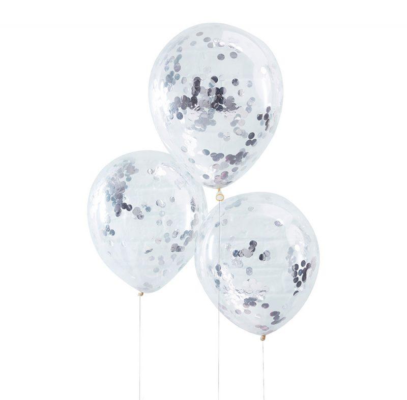 Ginger Ray Balony konfetti srebrne - 5 sztuk - Pan Talerzyk