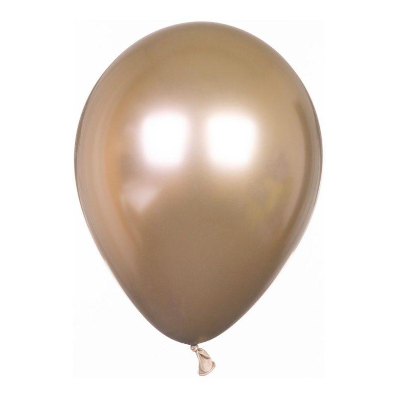 Qualatex Balony lateksowe 27 cm Chrome - złote - 5 sztuk - Pan Talerzyk