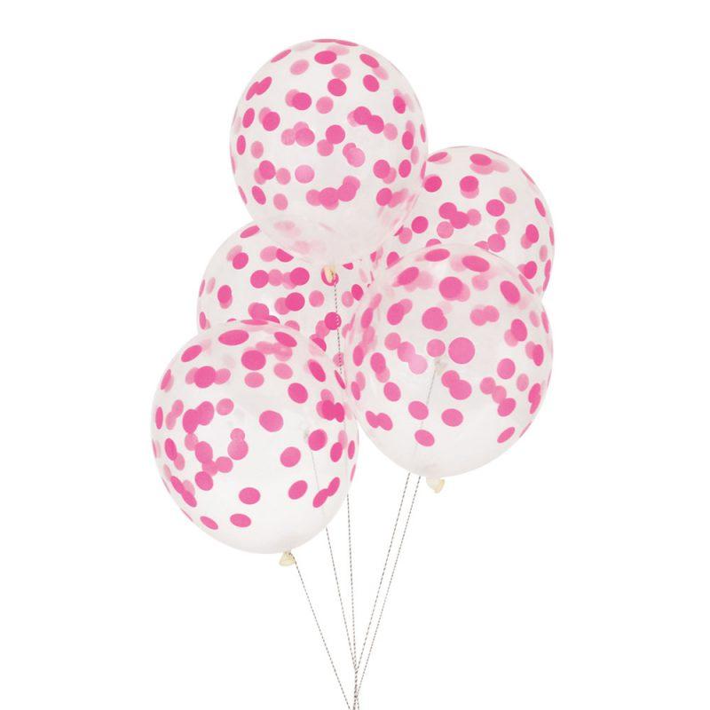 My Little Day Balony nadruk konfetti 5 sztuk - różowe - Pan Talerzyk