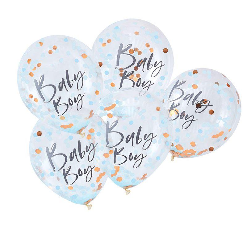 Ginger Ray Balony z konfetti Baby Boy - 5 sztuk - Pan Talerzyk