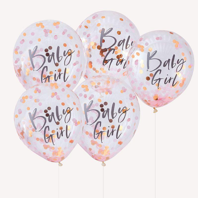 Ginger Ray Balony z konfetti Baby Girl - 5 sztuk - Pan Talerzyk