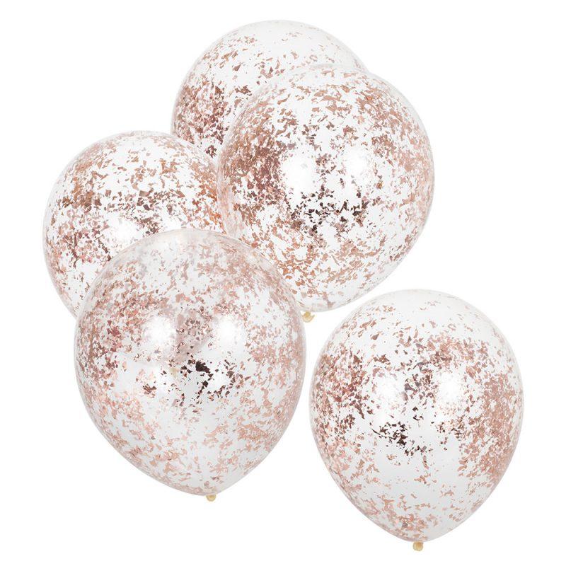 Ginger Ray Balony z konfetti rose gold - 5 sztuk - Pan Talerzyk