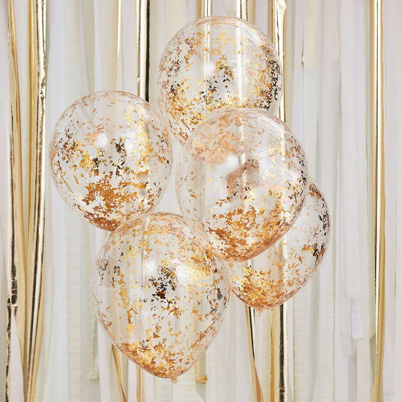 Ginger Ray Balony z konfetti złotym - 5 sztuk - Pan Talerzyk