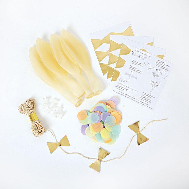 Meri Meri Balony z pastelowym konfetti - 8 sztuk - Pan Talerzyk