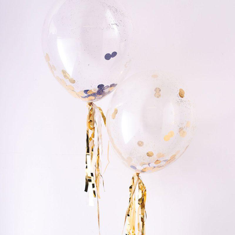 Meri Meri Balony ze złoto-srebrnym konfetti - 8 sztuk - Pan Talerzyk