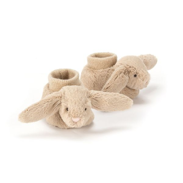 JellyCat Buciki z królikiem beżowe 10 cm - Pan Talerzyk