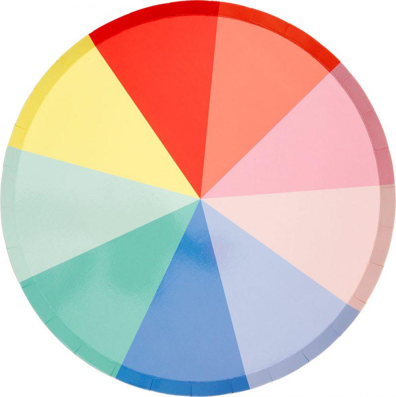 Meri Meri Duże talerzyki Color Wheel - 8 sztuk - Pan Talerzyk