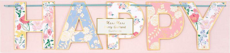 Meri Meri Girlanda Happy Birthday English Garden - Pan Talerzyk