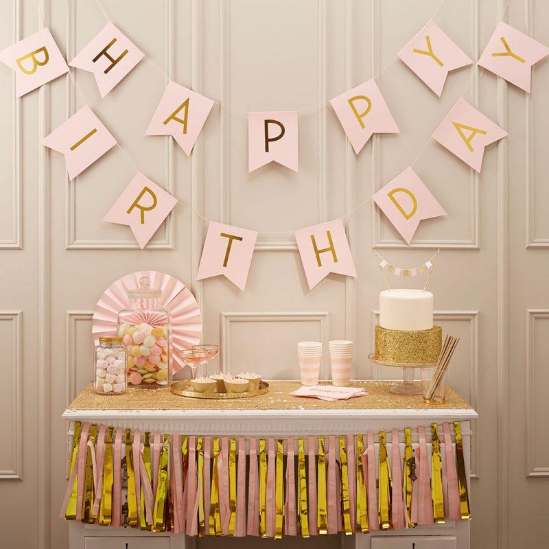 Ginger Ray Girlanda Happy Birthday - Pastelowa Perfekcja jasnoróżowa - Pan Talerzyk