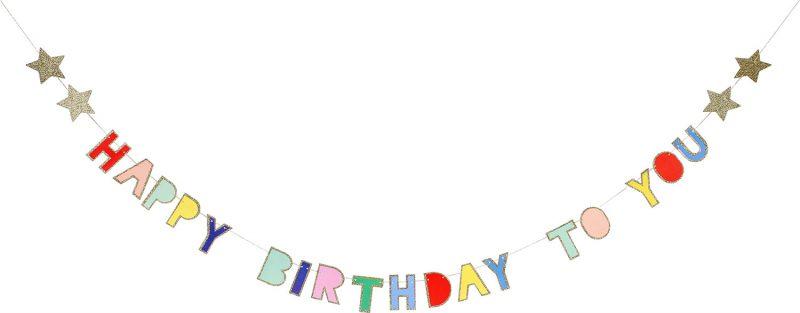 Meri Meri Girlanda Happy Birthday kolorowa - Pan Talerzyk