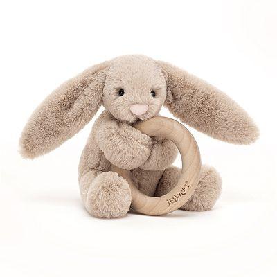 JellyCat Gryzak Bashful królik beżowy 13 cm - Pan Talerzyk