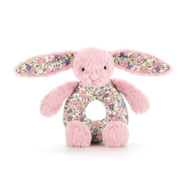 JellyCat Grzechotka królik różowy kolorowe uszy 13 cm - Pan Talerzyk
