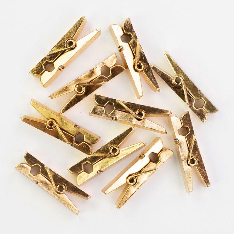 PartyDeco Klamerki drewniane 10 sztuk - złote - Pan Talerzyk