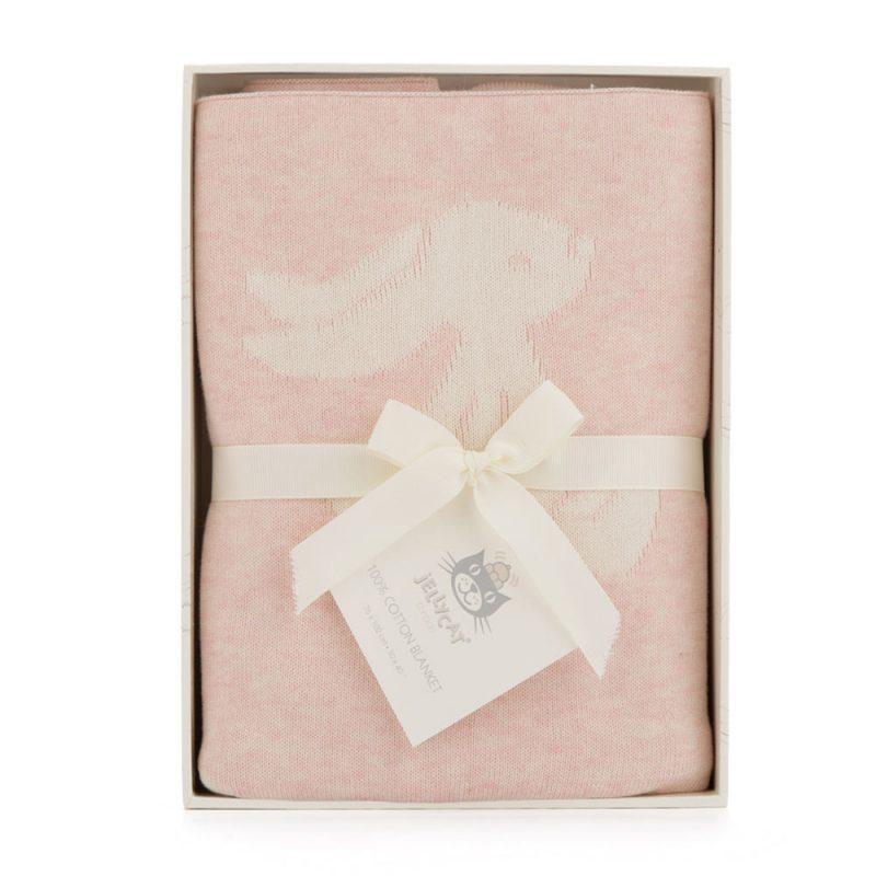 JellyCat Kocyk w króliczki w ozdobnym pudełku różowy - Pan Talerzyk