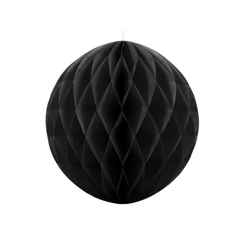 PartyDeco Kula honeycomb czarna - 20 cm - Pan Talerzyk