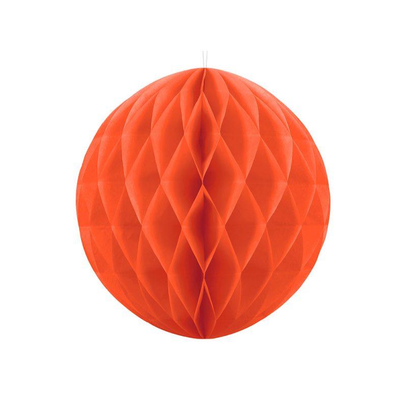 PartyDeco Kula honeycomb pomarańczowa - 20 cm - Pan Talerzyk