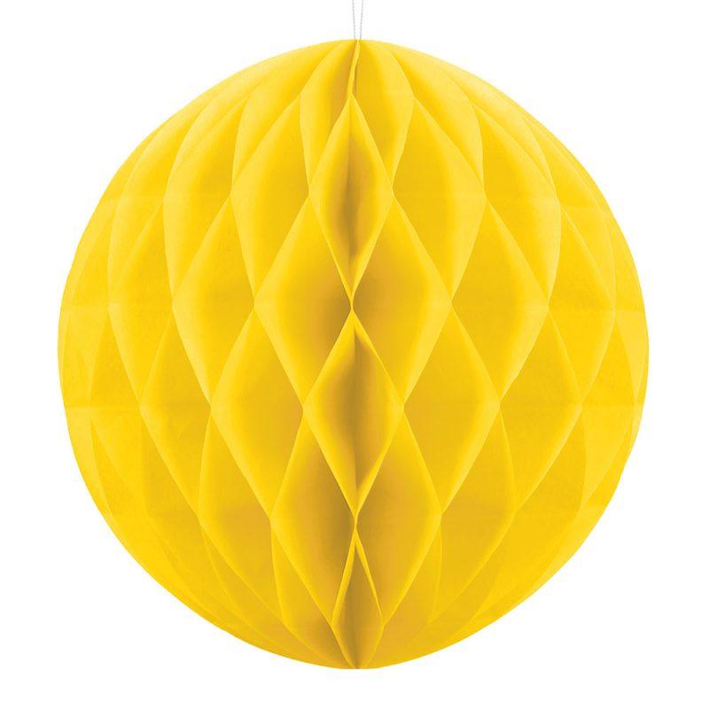 PartyDeco Kula honeycomb żółta - 30 cm - Pan Talerzyk