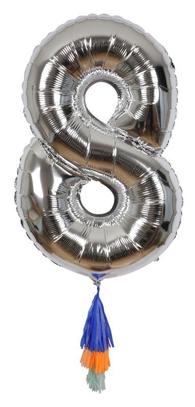 Meri Meri Balon Cyfra 8 Srebrny - Pan Talerzyk