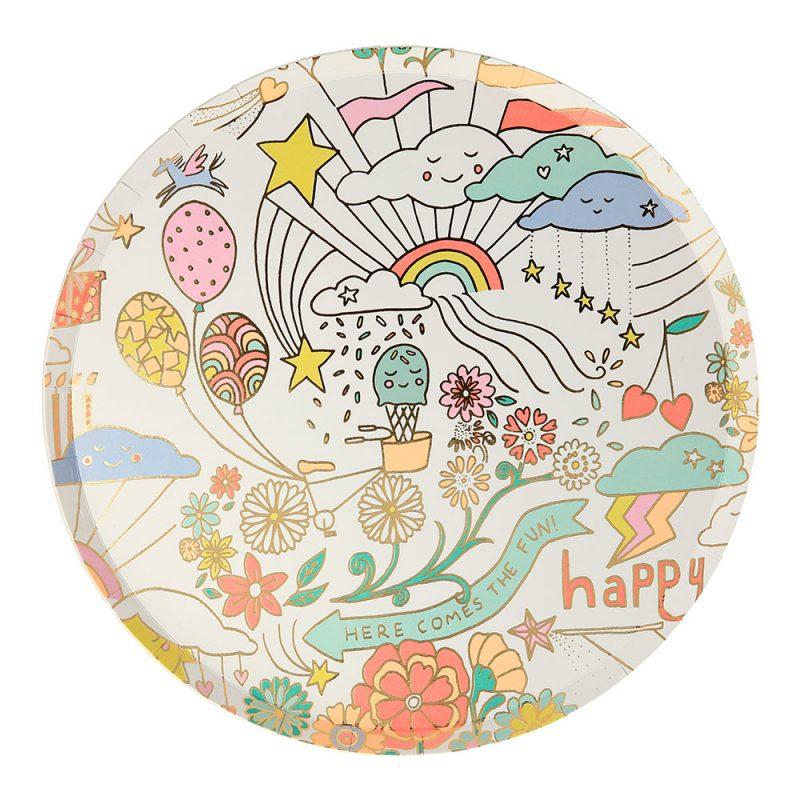 Meri Meri Małe talerzyki Happy Doodle - 8 sztuk - Pan Talerzyk