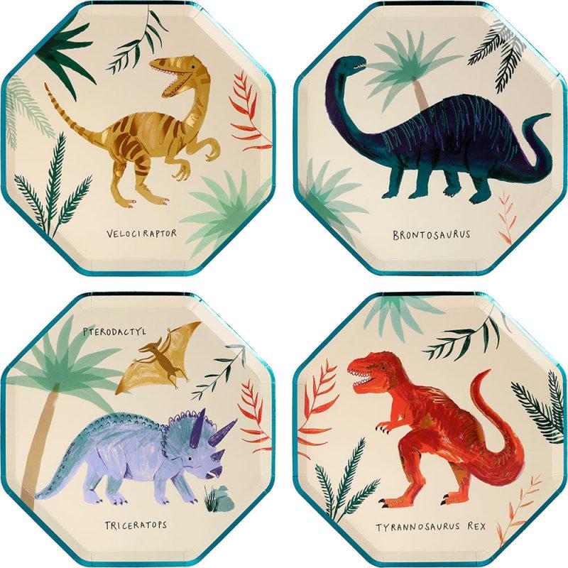 Meri Meri Małe talerzyki dinozaury - 8 sztuk - Pan Talerzyk