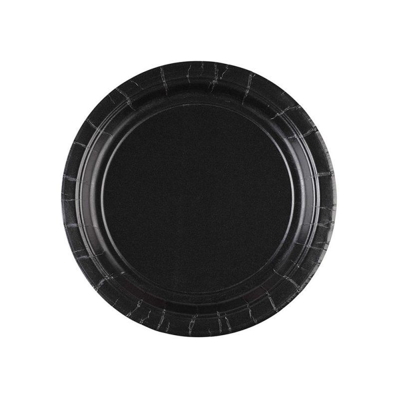 Amscan Małe talerzyki papierowe 8 sztuk - czarne - Pan Talerzyk