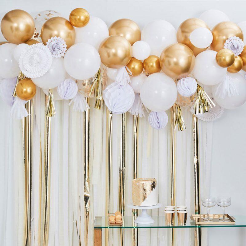 Ginger Ray Złota girlanda z balonów z dekoracjami - Pan Talerzyk