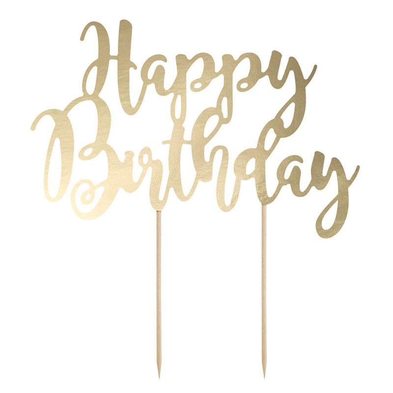 PartyDeco Ozdoba na tort - złoty napisa Happy Birthday - Pan Talerzyk