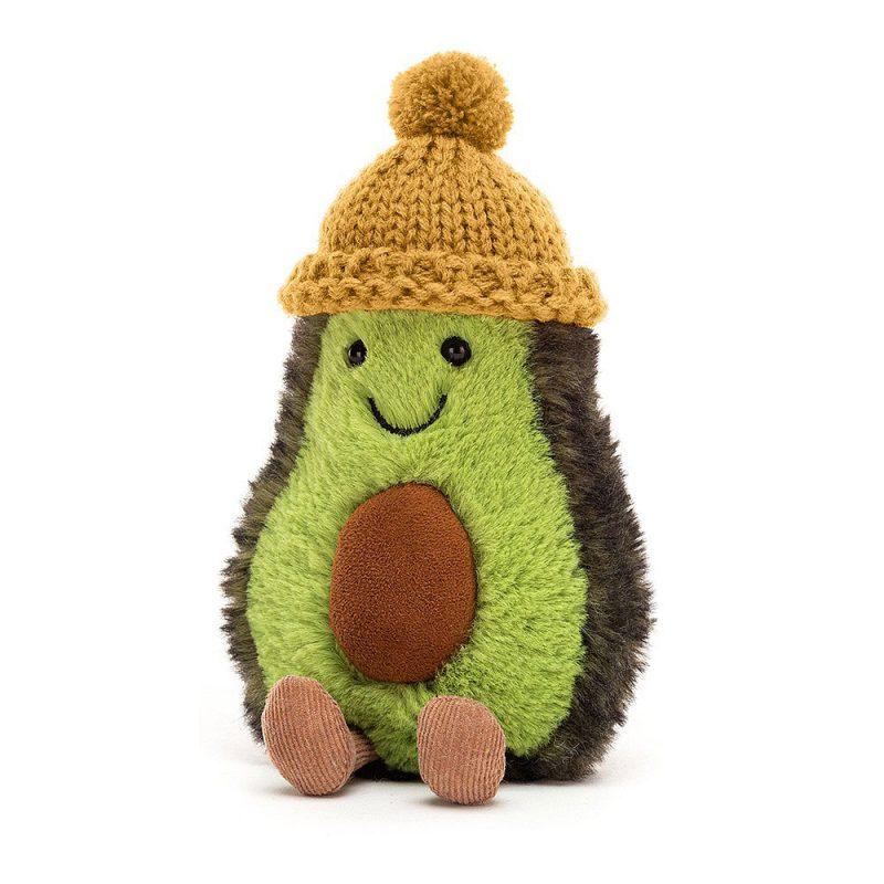 JellyCat Przytulanka awokado Amuseable z czapką musztardową 16 cm - Pan Talerzyk