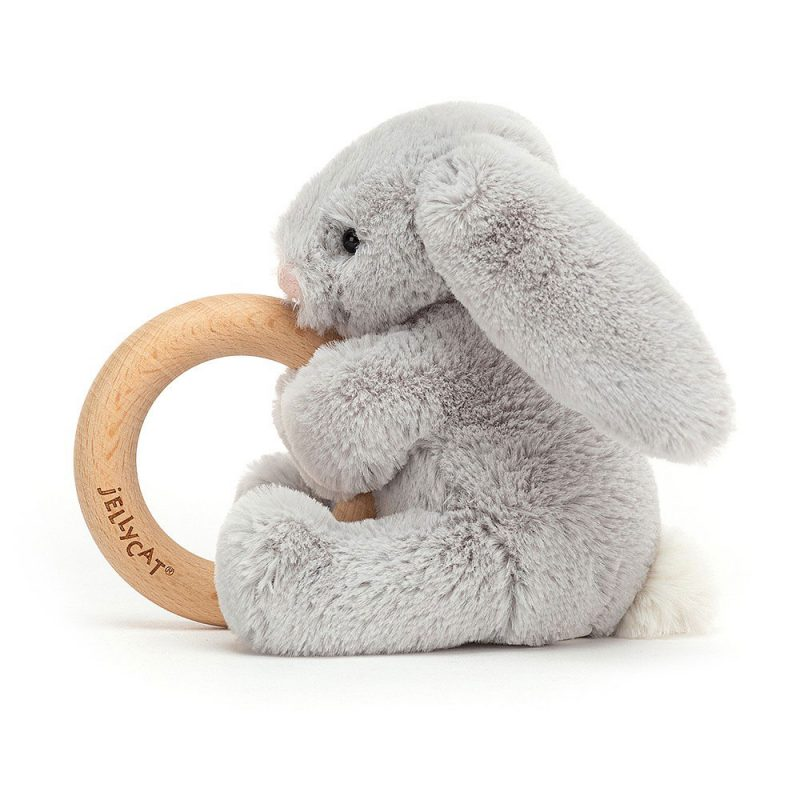 JellyCat Przytulanka - gryzak królik Bashful srebrny 13 cm - Pan Talerzyk