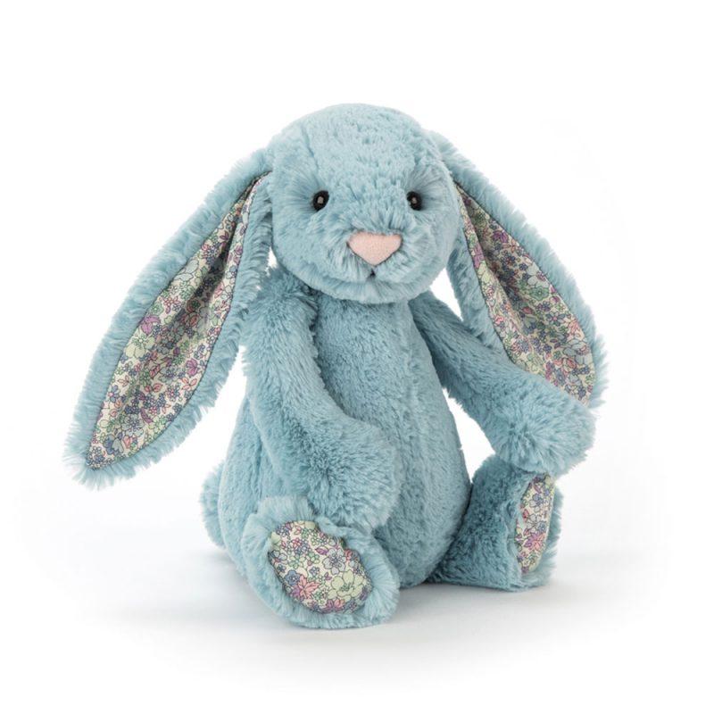 JellyCat Przytulanka królik aqua kolorowe uszy 18 cm - Pan Talerzyk