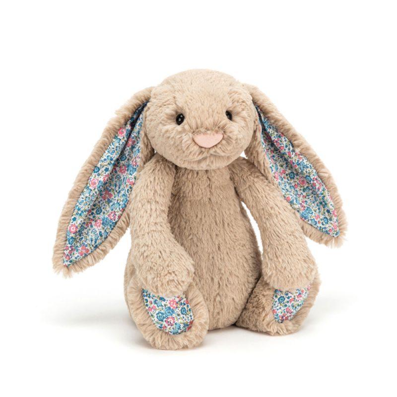 JellyCat Przytulanka królik beżowy kolorowe uszy 18 cm - Pan Talerzyk