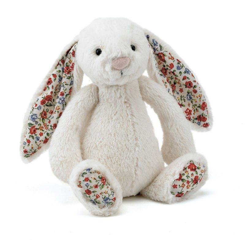 JellyCat Przytulanka królik kremowy kolorowe uszy 18 cm - Pan Talerzyk