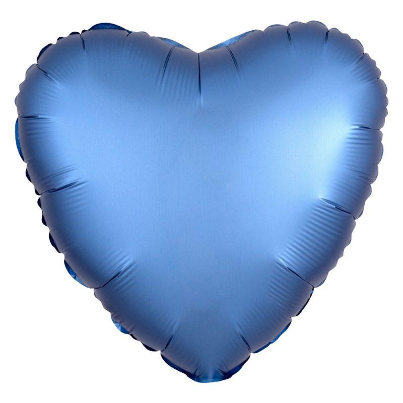 Anagram Satynowy balon foliowy 43 cm - niebieskie serce - Pan Talerzyk