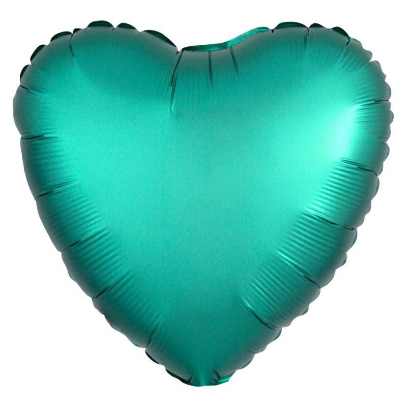Anagram Satynowy balon foliowy 43 cm - zielone serce - Pan Talerzyk