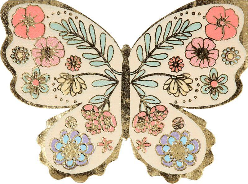 Meri Meri Serwetki kwiatowy motylek - 16 sztuk - Pan Talerzyk