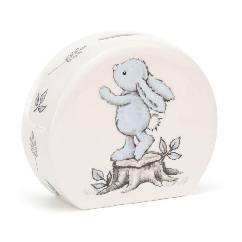 JellyCat Skarbonka z niebieskim królikiem 12 cm - Pan Talerzyk